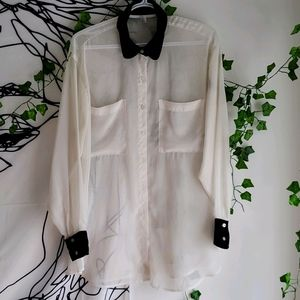 American Apparel Over sized chiffon button down